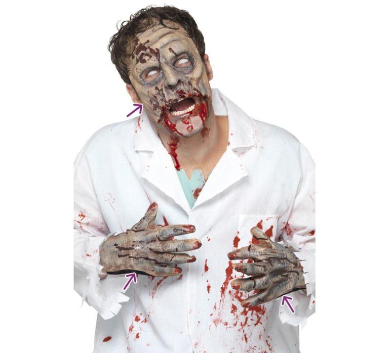 Disfraz de zombie con máscara y guantes