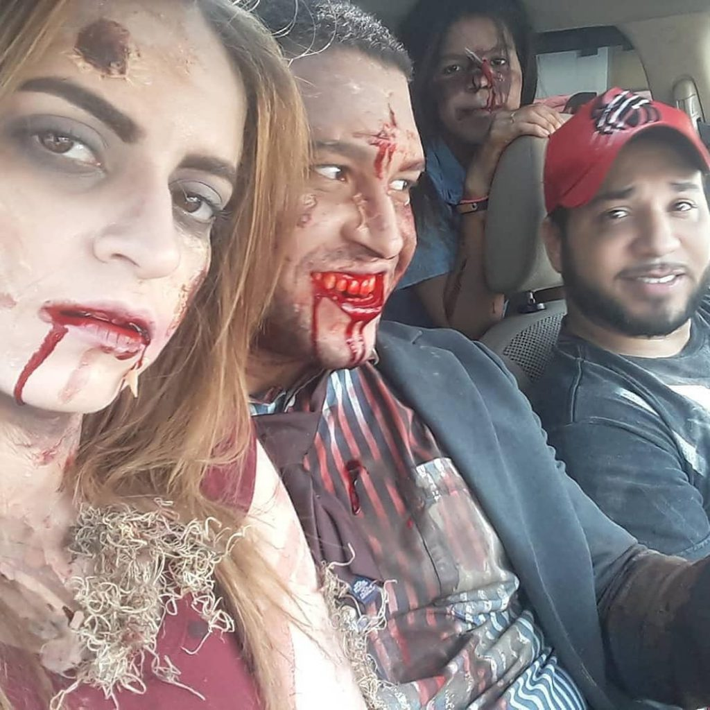 Fotografía del rodaje de Días de Oscuridad con zombies y el Director Luis Miguel Abreu