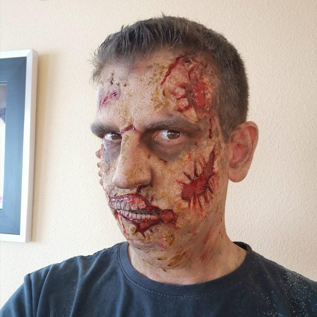 David maquillado de Zombie para un cumpleaños