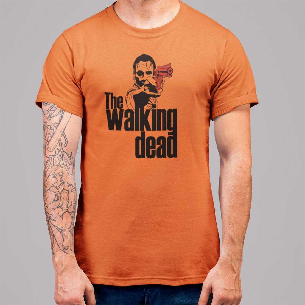 Camiseta de hombre de The Walking Dead con Rick Grimes y su revólver