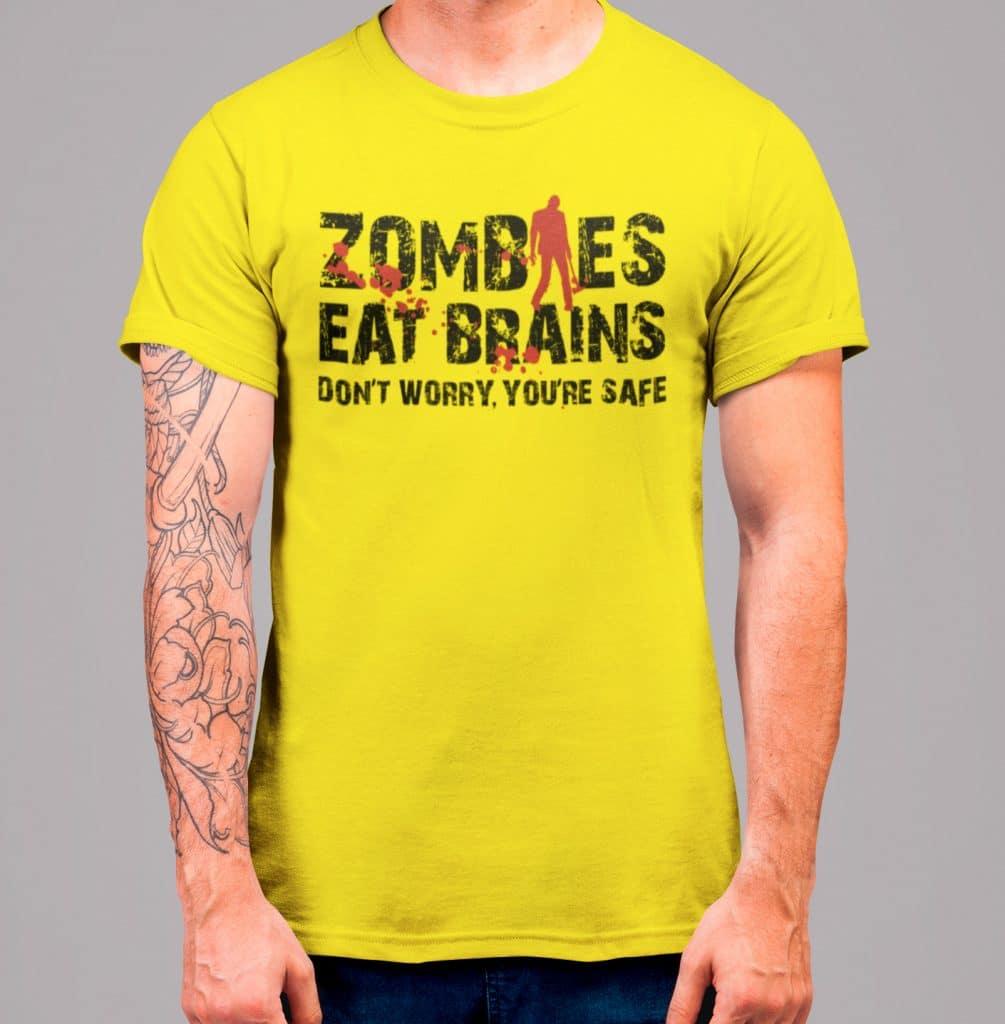 """Camiseta de hombre con el texto """"Zombies eat brains"""""""